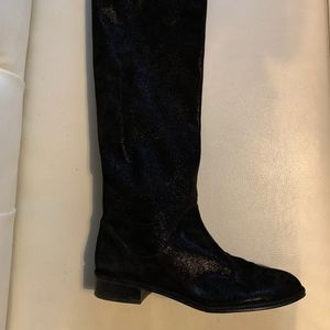 Stuart Weitzman Black Shimmer Suede Boots